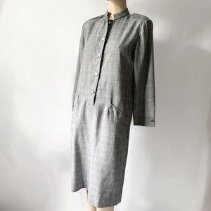 Vtg 80's Houndstooth Plaid Long Sleeve Shift Dress
